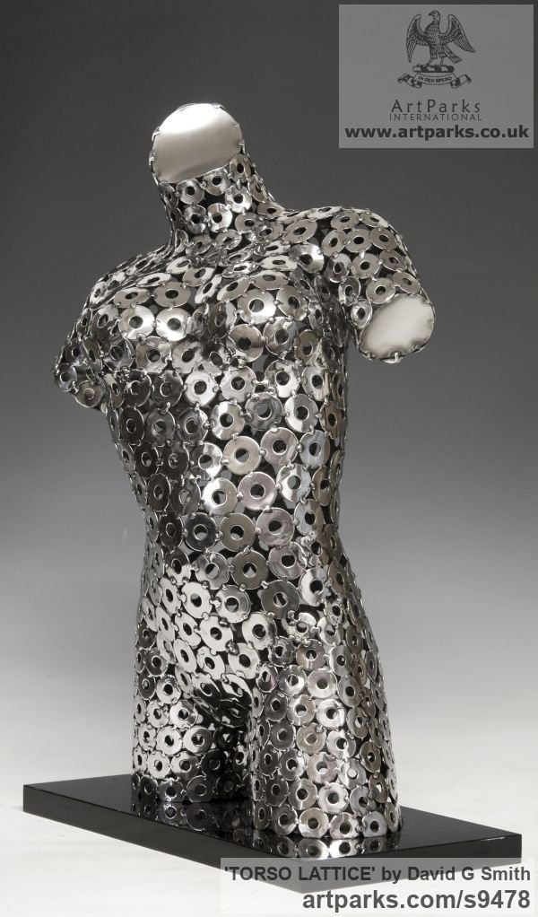Stainles Steel, Acrylic. Females Women Girls Ladies sculpture statuettes figurines sculpture by sculptor David G Smith titled: 'TORSO LATTICE (stainless Steel Girl`s Torso sculpture)' - Artwork View 4