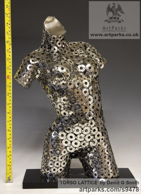 Stainles Steel, Acrylic. Females Women Girls Ladies sculpture statuettes figurines sculpture by sculptor David G Smith titled: 'TORSO LATTICE (stainless Steel Girl`s Torso sculpture)' - Artwork View 5