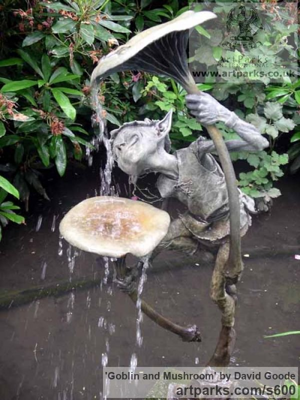 Bronze Garden Or Yard / Outside and Outdoor sculpture by sculptor David Goode titled: 'Goblin and Mushroom (bronze garden Imp or Gobblin Drinking Water Featu)'