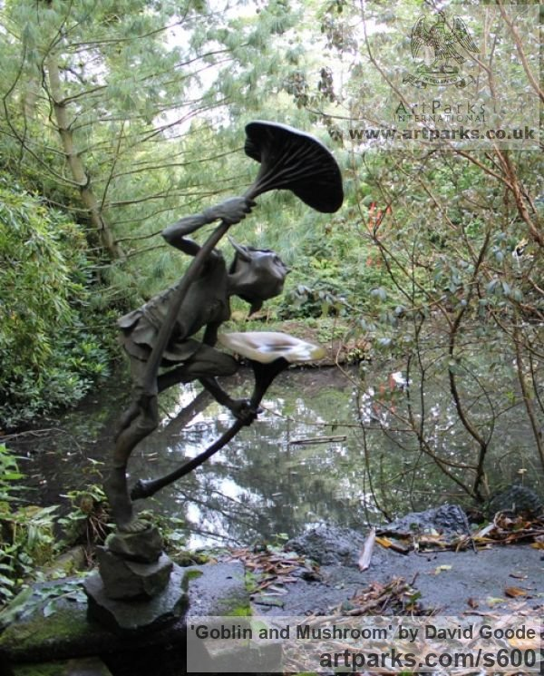 Bronze Garden Or Yard / Outside and Outdoor sculpture by sculptor David Goode titled: 'Goblin and Mushroom (bronze garden Imp or Gobblin Drinking Water Featu)' - Artwork View 3