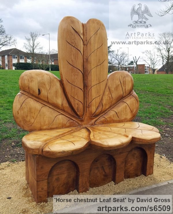 Oak Garden Or Yard / Outside and Outdoor sculpture by sculptor David Gross titled: 'Horse chestnut Leaf Seat (Carved wood garden/Yard sculpture/Seat)'