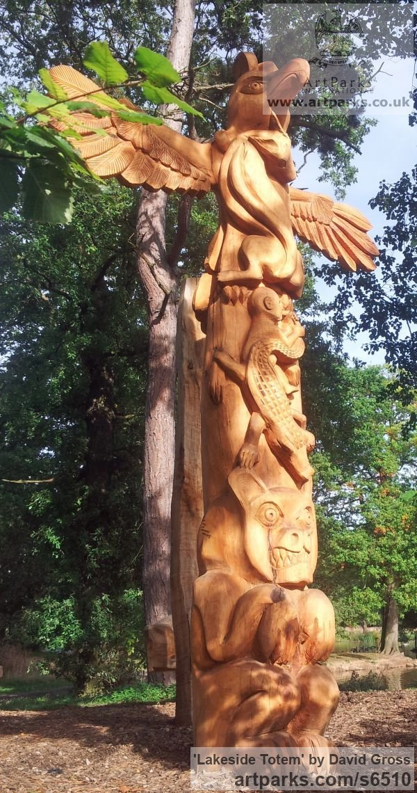 Cedar Wild Animals and Wild Life sculpture by sculptor David Gross titled: 'Lakeside Totem (Carved Wood garden Focal Point sculpture/statue)' - Artwork View 1