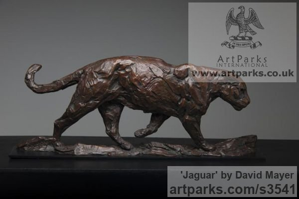 Bronze Cats Wild and Big Cats sculpture by sculptor David Mayer titled: 'Jaguar (South American Big Cat sculpture/statuettes)'