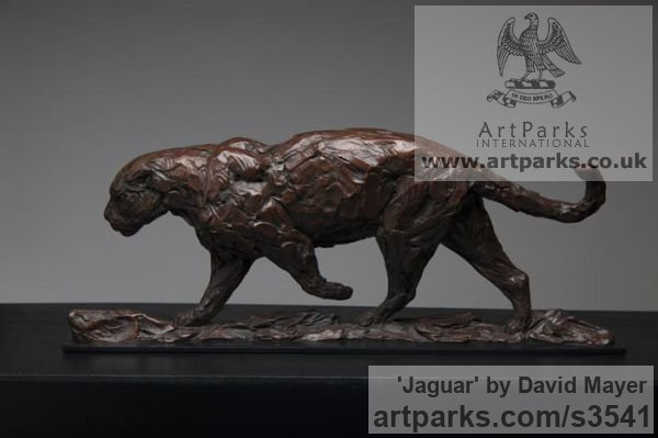 Bronze Cats Wild and Big Cats sculpture by sculptor David Mayer titled: 'Jaguar (South American Big Cat sculpture/statuettes)' - Artwork View 2