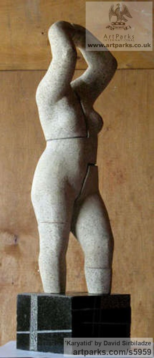 Stone Females Women Girls Ladies sculpture statuettes figurines sculpture by sculptor David Sirbiladze titled: 'Karyatid (Caryatid stone Small Stylisied nude female Woman statue)' - Artwork View 2