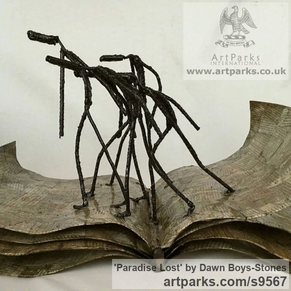 Metal Male Men Youths Masculine sculpturettes figurines sculpture by sculptor Dawn Boys-Stones titled: 'Paradise Lost'