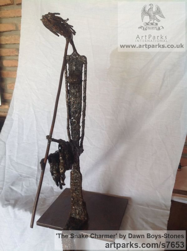 Welded mild steel Stick Like Sculpture or Statues or statuettes or Figurines sculpture by sculptor Dawn Boys-Stones titled: 'The Snake Charmer (Stylised Lowery Stick Man and Flute statuette statue)' - Artwork View 3