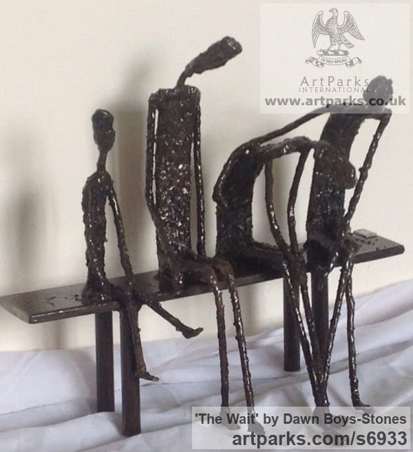 Welded mild steel Stick Like Sculpture or Statues or statuettes or Figurines sculpture by sculptor Dawn Boys-Stones titled: 'The Wait (abstract Family Sitting at Stop/Station sculpture)' - Artwork View 2