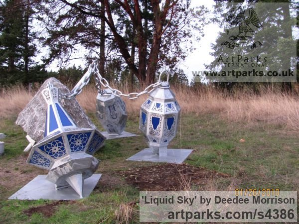 Limestone, Aluminum & Lucite Light and Sound sculpture by sculptor Deedee Morrison titled: 'Liquid Sky'