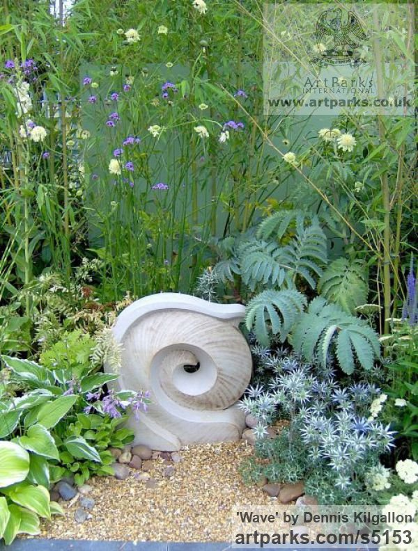 Ceramics{High-fired Stoneware} Garden Or Yard / Outside and Outdoor sculpture by sculptor Dennis Kilgallon titled: 'Wave (ceramic High Fired stone ware garden statues)' - Artwork View 2