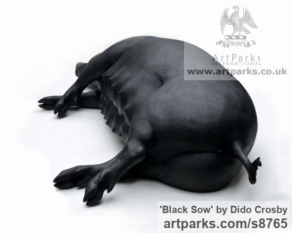 Bronze Garden Or Yard / Outside and Outdoor sculpture by sculptor Dido Crosby titled: 'Black Sow (Resting Lying Sleeping Mother Pig statues)' - Artwork View 2