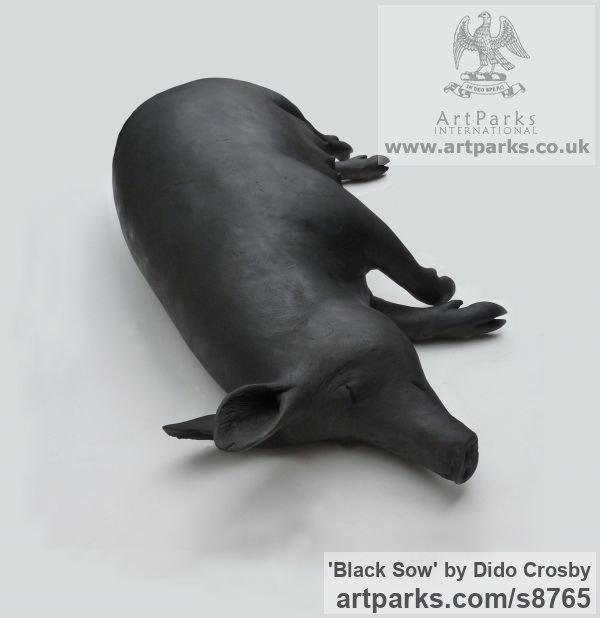 Bronze Garden Or Yard / Outside and Outdoor sculpture by sculptor Dido Crosby titled: 'Black Sow (Resting Lying Sleeping Mother Pig statues)' - Artwork View 3
