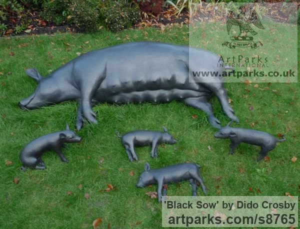 Bronze Garden Or Yard / Outside and Outdoor sculpture by sculptor Dido Crosby titled: 'Black Sow (Resting Lying Sleeping Mother Pig statues)' - Artwork View 4