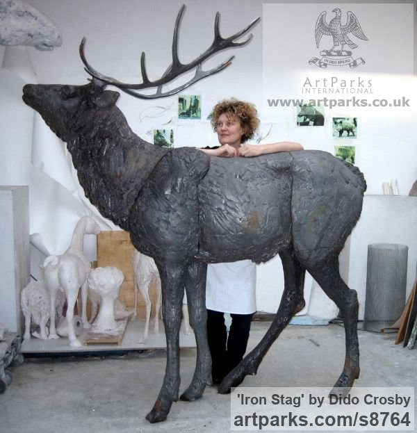Cast iron Garden Or Yard / Outside and Outdoor sculpture by sculptor Dido Crosby titled: 'Iron Stag (life size Outdoor garden Standing sculpture)' - Artwork View 4