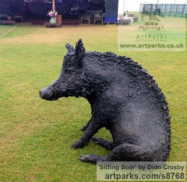 Bronze Garden Or Yard / Outside and Outdoor sculpture by sculptor Dido Crosby titled: 'Sitting Boar (Sitting Seated Bronze life size statues)'