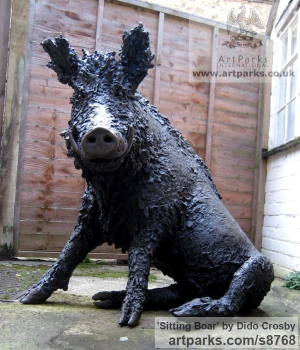 Bronze Garden Or Yard / Outside and Outdoor sculpture by sculptor Dido Crosby titled: 'Sitting Boar (Sitting Seated Bronze life size statues)' - Artwork View 2