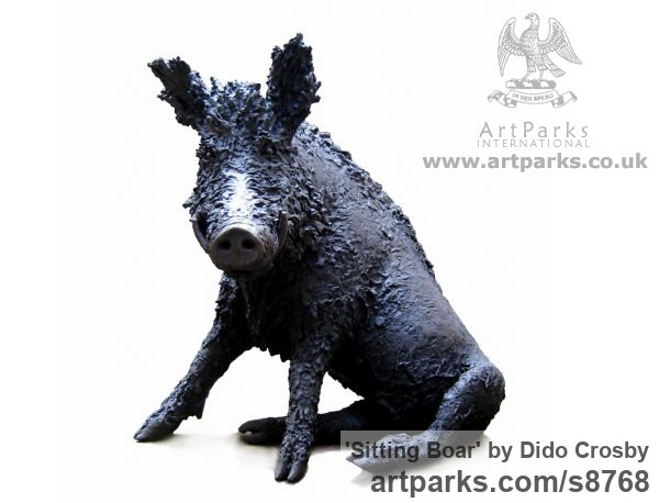 Bronze Garden Or Yard / Outside and Outdoor sculpture by sculptor Dido Crosby titled: 'Sitting Boar (Sitting Seated Bronze life size statues)' - Artwork View 3