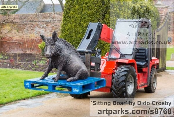 Bronze Garden Or Yard / Outside and Outdoor sculpture by sculptor Dido Crosby titled: 'Sitting Boar (Sitting Seated Bronze life size statues)' - Artwork View 5