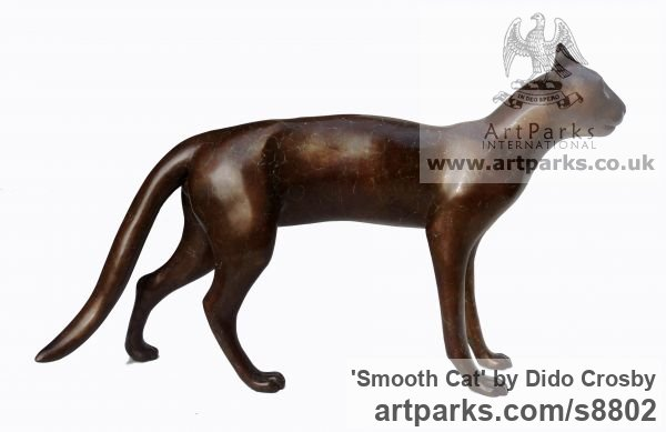 Bronze Garden Or Yard / Outside and Outdoor sculpture by sculptor Dido Crosby titled: 'Smooth Cat (life size Walking Standing sculpture)' - Artwork View 1