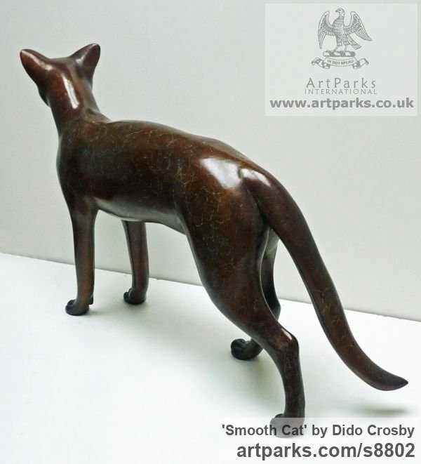 Bronze Garden Or Yard / Outside and Outdoor sculpture by sculptor Dido Crosby titled: 'Smooth Cat (life size Walking Standing sculpture)' - Artwork View 3