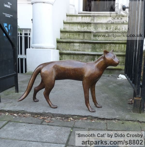 Bronze Garden Or Yard / Outside and Outdoor sculpture by sculptor Dido Crosby titled: 'Smooth Cat (life size Walking Standing sculpture)' - Artwork View 5
