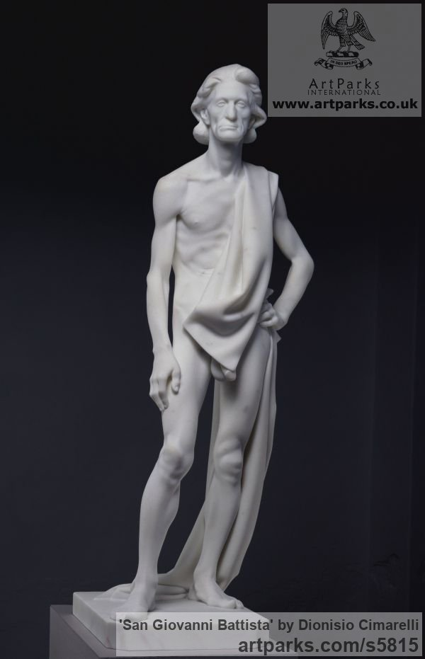 Carrara marble Carved Stone, Marble, Alabaster, Soap Stone Granite Lime stone sculpture by sculptor Dionisio Cimarelli titled: 'San Giovanni Battista (Carved marble stone statue John the Baptist statue)'