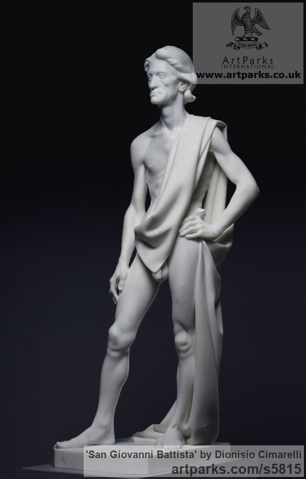 Carrara marble Carved Stone, Marble, Alabaster, Soap Stone Granite Lime stone sculpture by sculptor Dionisio Cimarelli titled: 'San Giovanni Battista (Carved marble stone statue John the Baptist statue)' - Artwork View 2