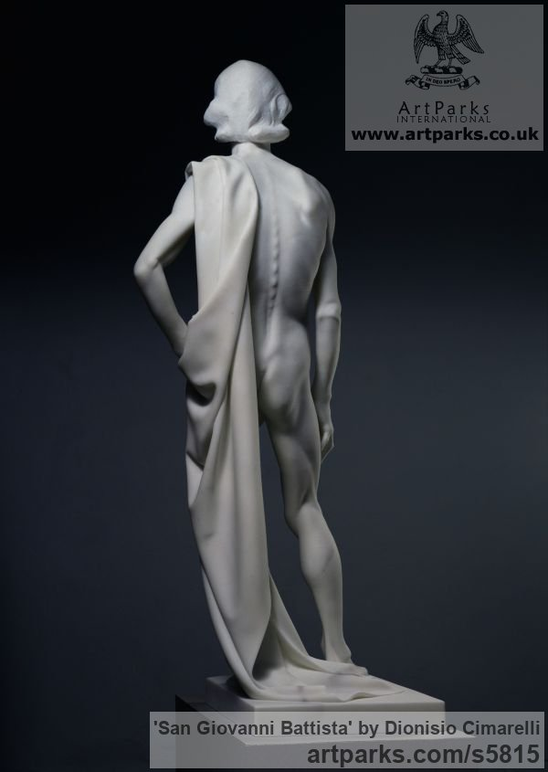 Carrara marble Carved Stone, Marble, Alabaster, Soap Stone Granite Lime stone sculpture by sculptor Dionisio Cimarelli titled: 'San Giovanni Battista (Carved marble stone statue John the Baptist statue)' - Artwork View 3