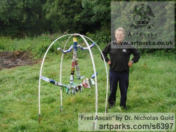 Recycled material Recycled Materials / Objets trouvees or Upcycle sculpturettes sculpture by sculptor Dr. Nicholas Gold titled: 'Fred Ascair'