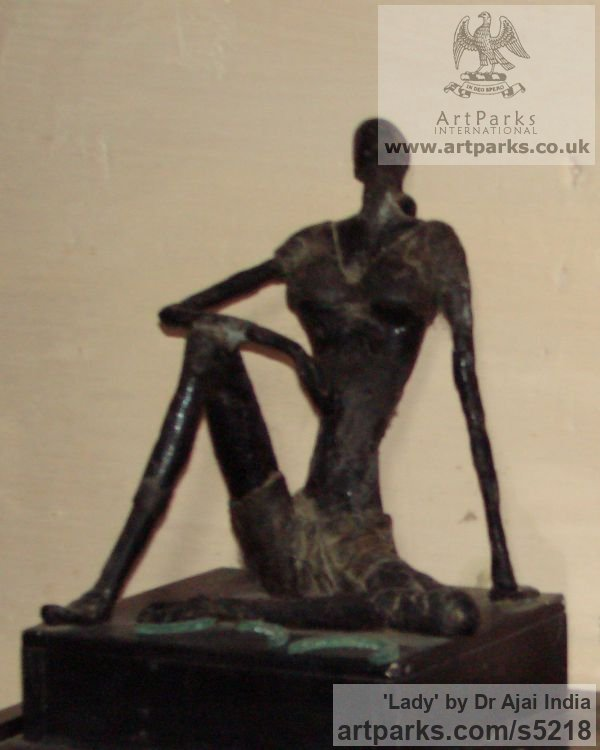 Resin,and metal cast Females Women Girls Ladies sculpture statuettes figurines sculpture by sculptor Dr Ajai India titled: 'Lady (abstract Contemporary Sitting female sculpture)'