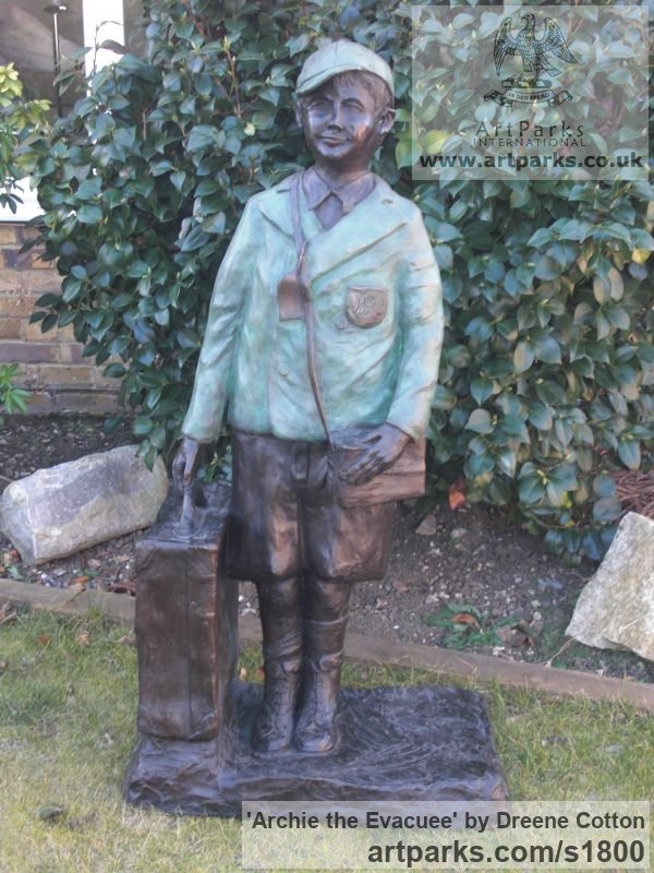 Bronze Resin Garden Or Yard / Outside and Outdoor sculpture by sculptor Dreene Cotton titled: 'Archie the Evacuee (Boy in School Uniform sculpture/statue/statuary)' - Artwork View 2