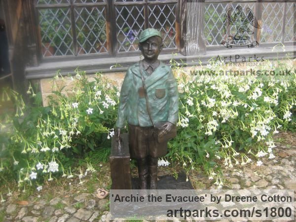 Bronze Resin Garden Or Yard / Outside and Outdoor sculpture by sculptor Dreene Cotton titled: 'Archie the Evacuee (Boy in School Uniform sculpture/statue/statuary)' - Artwork View 4