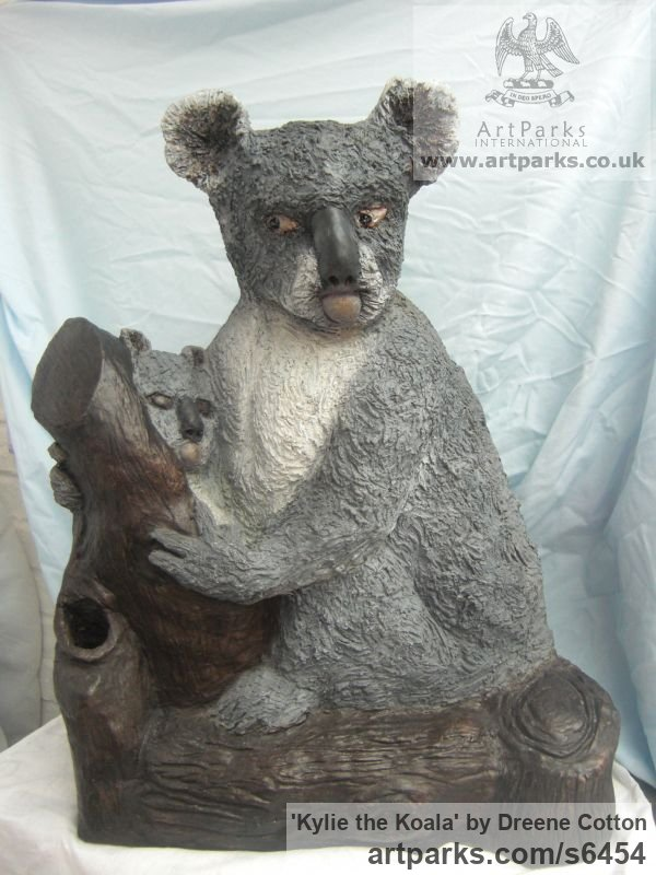 Bronze resin Garden Or Yard / Outside and Outdoor sculpture by sculptor Dreene Cotton titled: 'KYLIE the KOALA (Bronze resin bear and Cub statue/sculptures for sale)' - Artwork View 2