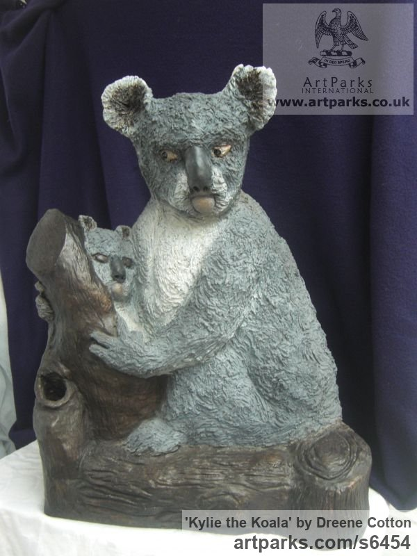 Bronze resin Garden Or Yard / Outside and Outdoor sculpture by sculptor Dreene Cotton titled: 'KYLIE the KOALA (Bronze resin bear and Cub statue/sculptures for sale)' - Artwork View 3