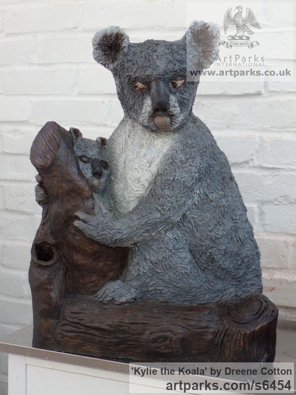 Bronze resin Garden Or Yard / Outside and Outdoor sculpture by sculptor Dreene Cotton titled: 'KYLIE the KOALA (Bronze resin bear and Cub statue/sculptures for sale)'