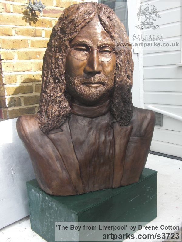 Bronze resin Portrait Sculptures / Commission or Bespoke or Customised sculpture by artist Dreene Cotton titled: 'The Boy from Liverpool (bronze resin John Lennon Beatle Inside Bust)'
