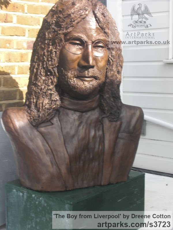 Bronze resin Portrait Sculptures / Commission or Bespoke or Customised sculpture by artist Dreene Cotton titled: 'The Boy from Liverpool (bronze resin John Lennon Beatle Inside Bust)' - Artwork View 2