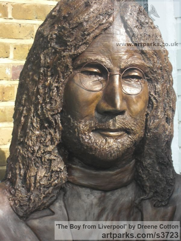Bronze resin Portrait Sculptures / Commission or Bespoke or Customised sculpture by artist Dreene Cotton titled: 'The Boy from Liverpool (bronze resin John Lennon Beatle Inside Bust)' - Artwork View 3