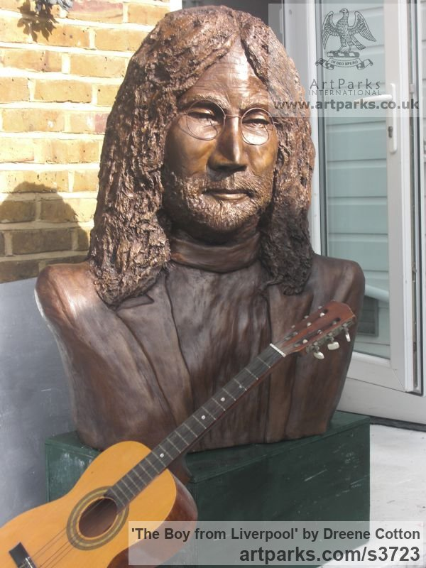 Bronze resin Portrait Sculptures / Commission or Bespoke or Customised sculpture by artist Dreene Cotton titled: 'The Boy from Liverpool (bronze resin John Lennon Beatle Inside Bust)' - Artwork View 4