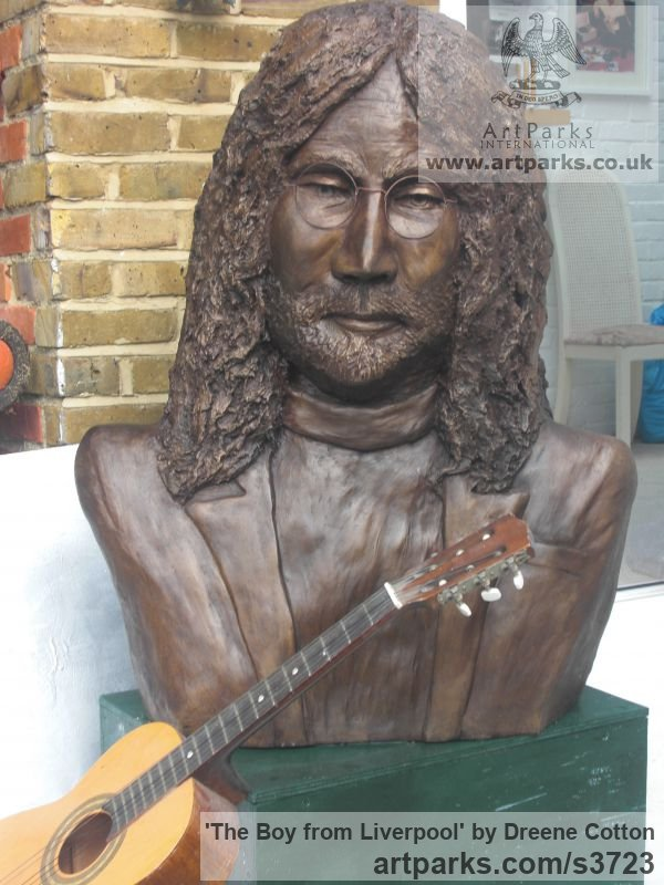 Bronze resin Portrait Sculptures / Commission or Bespoke or Customised sculpture by artist Dreene Cotton titled: 'The Boy from Liverpool (bronze resin John Lennon Beatle Inside Bust)' - Artwork View 5
