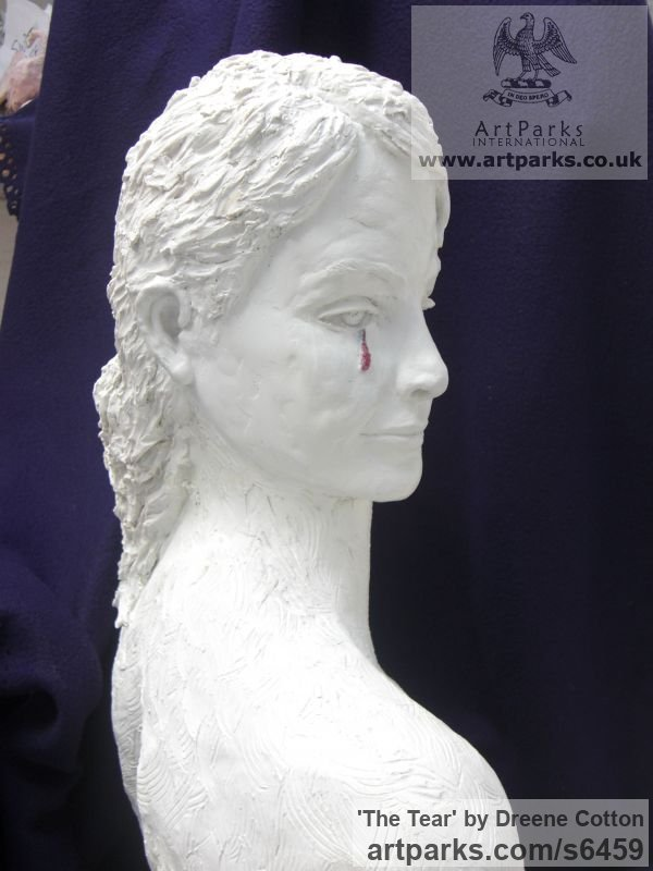 WHITE MARBLE RESIN Females Women Girls Ladies sculpture statuettes figurines sculpture by sculptor Dreene Cotton titled: 'THE TEAR (Crying/Weeping/Sad/Kneeling Girl female statue/sculpture)' - Artwork View 2