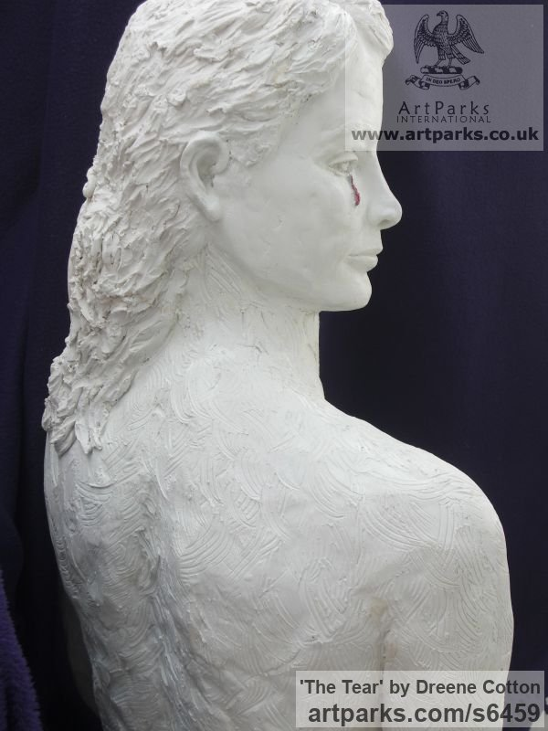 WHITE MARBLE RESIN Females Women Girls Ladies sculpture statuettes figurines sculpture by sculptor Dreene Cotton titled: 'THE TEAR (Crying/Weeping/Sad/Kneeling Girl female statue/sculpture)' - Artwork View 3