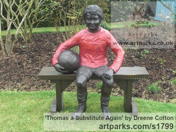 Bronze Resin Garden Or Yard / Outside and Outdoor sculpture by sculptor Dreene Cotton titled: 'Thomas a substitute Again (Bronze resin Boy Footballer sculpture/statue)'