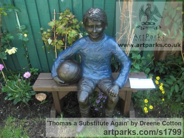Bronze Resin Garden Or Yard / Outside and Outdoor sculpture by sculptor Dreene Cotton titled: 'Thomas a substitute Again (Bronze resin Boy Footballer sculpture/statue)' - Artwork View 2