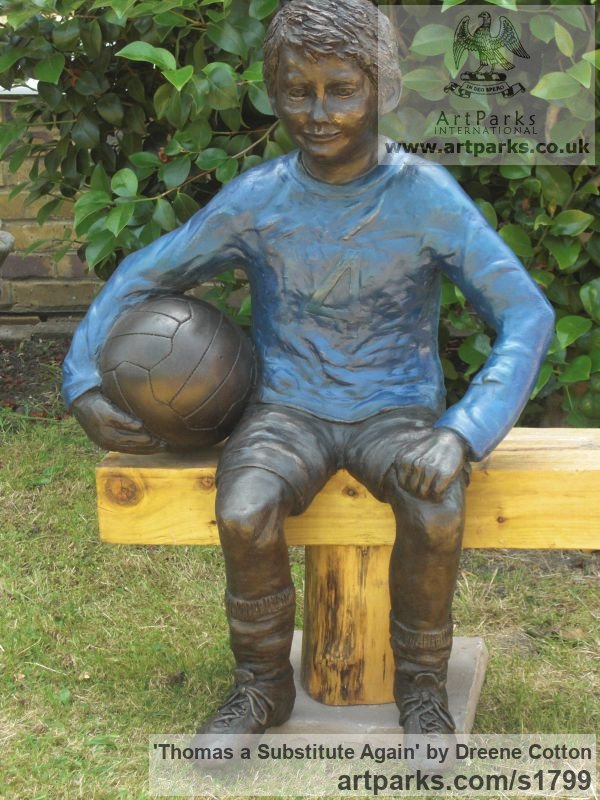 Bronze Resin Garden Or Yard / Outside and Outdoor sculpture by sculptor Dreene Cotton titled: 'Thomas a substitute Again (Bronze resin Boy Footballer sculpture/statue)' - Artwork View 3