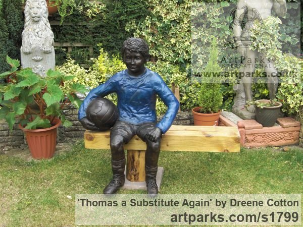 Bronze Resin Garden Or Yard / Outside and Outdoor sculpture by sculptor Dreene Cotton titled: 'Thomas a substitute Again (Bronze resin Boy Footballer sculpture/statue)' - Artwork View 5