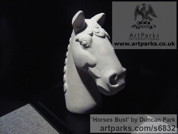 Portland stone Horse Sculpture / Equines Race Horses Pack HorseCart Horses Plough Horsess sculpture by sculptor Duncan Park titled: 'Horses Bust (Carved stone Classical style Head sculpture statue)'