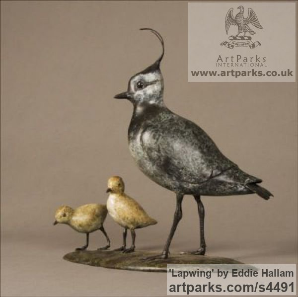 Bronze Varietal Mix of Bird Sculptures or sculpture by sculptor Eddie Hallam titled: 'Lapwing (Bronze standing and Chicks/Family statuettes/statue/figurine)'