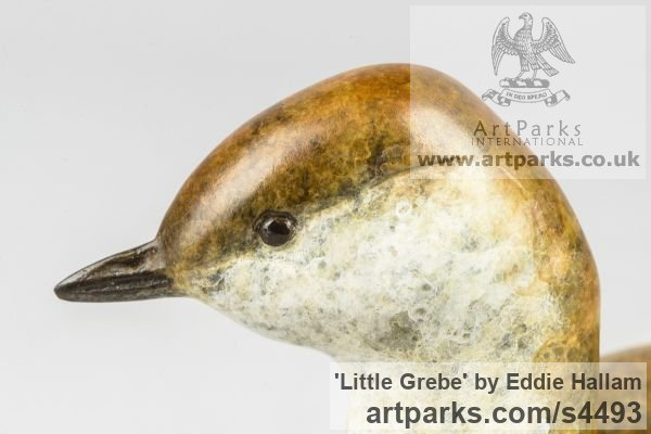 Bronze Varietal Mix of Bird Sculptures or sculpture by sculptor Eddie Hallam titled: 'Little Grebe (Bronze life size Swimming Water Bird statuettes/statues)' - Artwork View 2