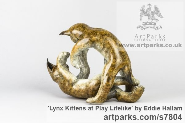 Bronze Cats sculpture by sculptor Eddie Hallam titled: 'Lynx Kittens at Play' - Artwork View 3